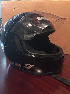 KBC TK-7 Black Full Face Motorcycle Helmet w/ Mirror Face Shield Size XXL #KBC