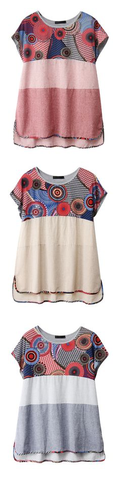 Chinese Style Printed Women Short Sleeve O-Neck Shirts woman's top~~~
