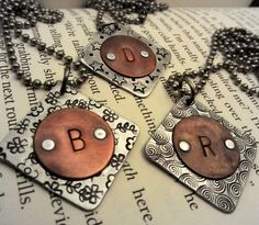 Monogram Necklace - Hand Stamped Jewelry - Initial Necklace - Mixed Metal with C...