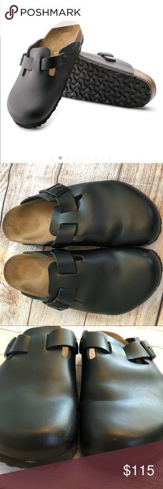 3f9fca6bb6a Birkenstock Boston Black Leather Clogs 42 M9 L11 Never worn Small scoff on  side of one