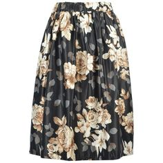 High Waisted A Line Floral Print Skirt featuring polyvore women's fashion clothing skirts floral printed skirt high waisted knee length skirt high waisted floral skirt floral skirt high waisted skirts