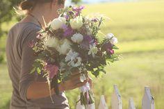 Creams with purple accents. organic bridal bouquet by Erin Benzakein / Floret Flower Farm, via Flickr