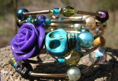 Day of the Dead Sugar Skull Bracelet 5 Loops Wrap Around Memory Wire OOAK NEW!!!