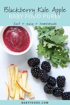 This blackberry, kale, and apple puree is one of my favorite fast and easy homemade baby food recipes! Mighty apples are steamed with dark and enticing blackberries and nutrient rich baby kale. Baby Puree Recipes, Pureed Food Recipes, Baby Food Recipes, Healthy Recipes, Baby Bullet Recipes, Healthy Food, Dinner Recipes, Toddler Meals, Kids Meals
