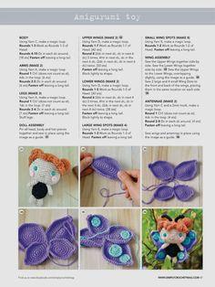 Butterfly pattern 2 Amigurumi Patterns, Amigurumi Doll, Doll Patterns, Crochet Patterns, Simply Crochet, Love Crochet, Crochet Baby, Crochet Butterfly, Crochet Flowers