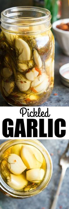 Healthy Recipes : Illustration Description If you love pickles and you love garlic, you just found a tasty new best friend. This Pickled Garlic Recipe also makes a great starter canning project! via /culinaryhill/ -Read More – Garlic Recipes, Healthy Recipes, Pickeling Recipes, Healthy Food, Pickled Garlic, Pickled Olives, Yummy Food, Tasty, Fermented Foods