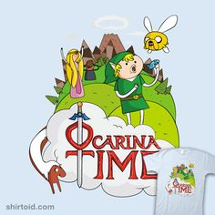 Ocarina Time by Michael Holmes - Legend of Zelda Ocarina of Time x Adventure Time cross-over! Adventure Time Crossover, Adventure Time Shirt, Campfire Stories, Scary Funny, Vhs, Time T, Scary Stories, Marceline, Geek Out