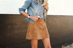 Denim jacket, suede, stripes.