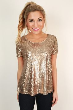 Sparkle In The City Top in Taupe - Gold Sequin Glitter Top. Would prefer rose gold or silver, but this would be cute for New Years Sparkle Outfit, Gold Outfit, New Years Outfit, New Years Eve Outfits, Nye Outfits, Fashion Outfits, Club Outfits, Club Dresses, Casual Outfits