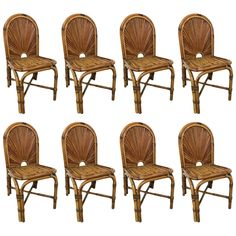 "Set of Eight Gabriella Crespi ""Rising Sun"" Dining Chairs"