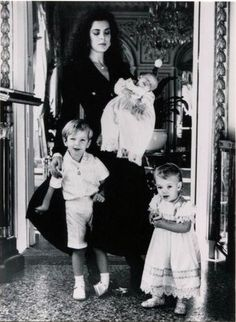 Thought for 4th April - lovely photo of Caroline with her young children Andrea, Charlotte and Pierre.
