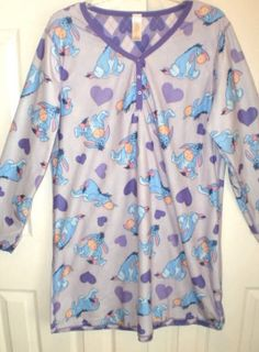 WOMENS 2X XXL 18W 20W DISNEY EEYORE fleece NIGHTSHIRT sleepwear PURPLE soft CUTE #Disney #Sleepshirt