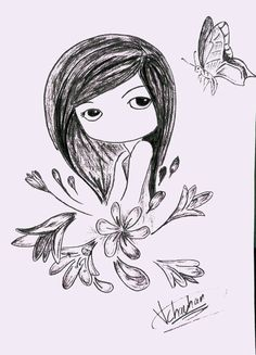 Cute girl drawing:- made by me