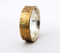 Brass Distressed Ring Silver Liner Rustic Wedding by SilverSmack