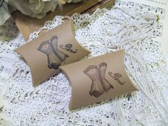 LOVE!!  Vintage Corset Kraft Paper Party Favor Pillow by auntiesjammies, $8.50
