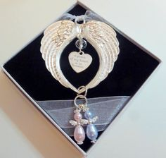 A Piece of my Heart is In Heaven Remembrance Gift Bright Silver Double Wings & Guardian Angel(s) Made With Swarovski Pearls by JanbroCharmingGifts on Etsy Organza Ribbon, Organza Gift Bags, Handmade Angels, Remembrance Gifts, Infant Loss, Memorial Gifts, White Gift Boxes, Piece Of Me, Swarovski Pearls