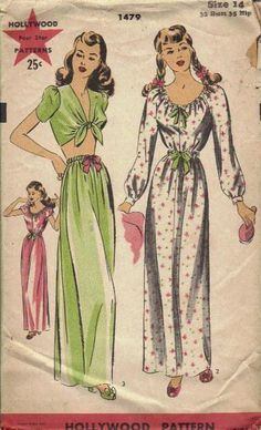 Vintage Hollywood Sewing Pattern Women's Nightgown 1479 Sz 14 Bust FF for sale online Vintage Dress Patterns, Vintage Dresses, Vintage Outfits, Vintage Clothing, 1940s Fashion, Vintage Fashion, Vintage Style, Nightgowns For Women, Vintage Hollywood