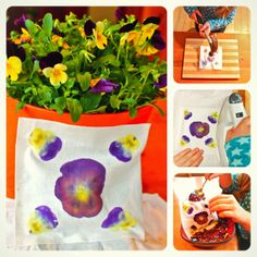Wow! The print on this fabric was made by hammering pansies. This type of flower transfer can be done with other flowers as well. Then use the beautiful, one of a kind fabric to make a great gift.
