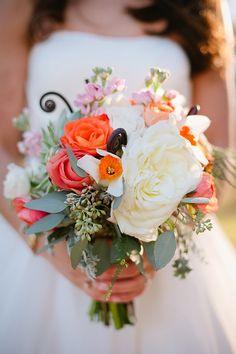 orange pink bouquets