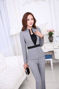 Cheap suit christmas, Buy Quality suit jacket directly from China suit jacket and jeans Suppliers: Novelty Grey Ladies Office Work Suits Jackets And Pants Formal Uniform Design Professional Business Pantsuits Trousers Sets Corporate Attire Women, Business Attire, Business Fashion, Business Women, Fashion Over 40, Look Fashion, Fashion Blogs, Girl Fashion, Fashion Trends