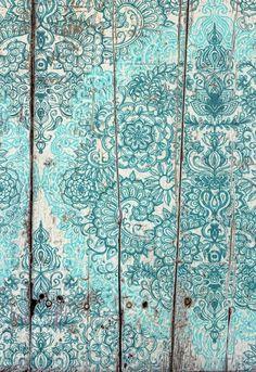 Teal & Aqua Botanical Doodle on Weathered Wood Art Print