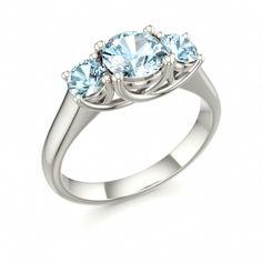 Three Stone Ring with Aquamarine in 18k White Gold, MOMENTS OF JOY #aquamarine #ring