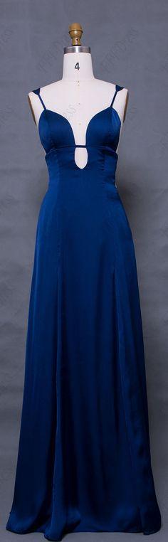 Navy blue prom dresses long simple elegant prom dress pludging neckline spaghetti straps prom gowns