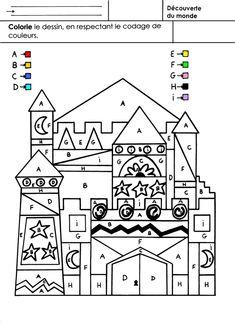 ATELIER AUTONOME ( avec correction ultérieure) Un château avec des surfaces où sont écrites des lettres en majuscules. Une couleur est affectée à chaque lettre. Il faut colorier tout le château. - Notion de surfaces - Respecter un codage de couleurs imposé....
