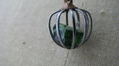 Cage pendant necklace vintage cage crystal cage by PersimmonPearl, #industrial chic pendant, #caged green crystal, #PersimmonPearl