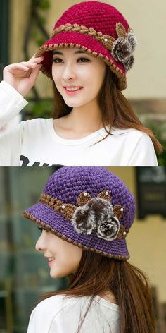 e00407fc661 New fashion women lady winter warm casual caps female beautiful wool  crochet knitted flowers decorated ears