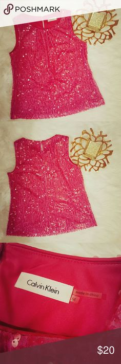 Calvin Klein Pink Sequin Lined Top Size Medium covered in sequins front and back small Keyhole in the back Calvin Klein Tops Tank Tops