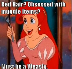 obsessed with muggle items? must be a weasley. Harry Potter Meets Little Mermaid. My Two Favorites! Harry Potter Disney, Harry Potter Mems, Harry Potter Pictures, Harry Potter Fandom, Harry Potter World, Harry Potter Spells, Harry Potter Facts, Ridiculous Harry Potter, Ginny Weasley