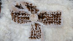 Bufanda rex franja combinada en 2 colores: beige y marron
