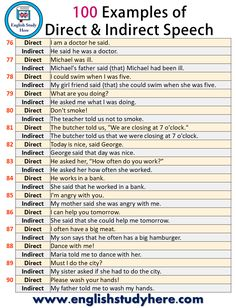 100 Examples of Direct and Indirect Speech - English Study Here English Grammar Rules, Teaching English Grammar, English Grammar Worksheets, English Writing Skills, English Vocabulary Words, Learn English Words, English Phrases, English Language Learning, English Study