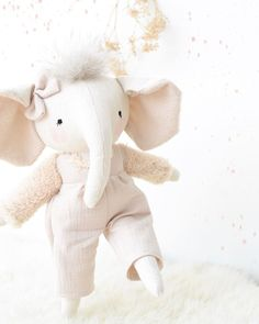 """Mes petites lunes on Instagram: """"This very charming mammoth elephant will be available along with many other friends (foxes, hedgehogs, fawns, bunnies and a new animal!!)…"""" Pet Toys, Baby Toys, Elephant Crafts, Marionette, Doll Sewing Patterns, Cute Stuffed Animals, Baby First Birthday, Soft Dolls, Baby Boutique"""