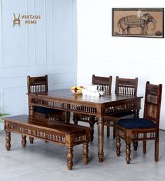 Buy Shekhawati Handcrafted Six Seater Dining Set with Blue Upholstrey online - Lowest Price - Banglore, India Furniture, Dining Set, Dining Sets Modern, Wooden Furniture, Home, Seater, Vintage House, Dining Table, Vintage