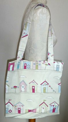 Handmade Shopping Bag beach hut floral by KelwayCraftsYorkshir, £9.99