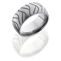 Titanium 10mm Domed Band with Tire Tread Pattern.  Free Engraving inside band. Can be custom made to any width and size
