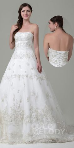 Gorgeous Embroidery Wedding Dress with Lace-up Back! #cocomelody #weddingdress2016 #wedding dresses