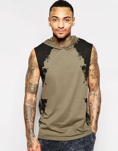 Image 1 of ASOS Sleeveless T-Shirt With Hood And Brushstroke Print