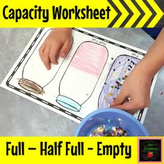 Capacity Worksheet: Full, Half Full, Empty - This simple worksheet allows Prek or Kindergarten students to represent 'full', 'half full' and 'empty' by coloring in and decorating the jars. Measurement Kindergarten, Kindergarten Anchor Charts, Measurement Activities, Math Measurement, Preschool Learning Activities, Kindergarten Math, Capacity Activities, Capacity Worksheets, Science