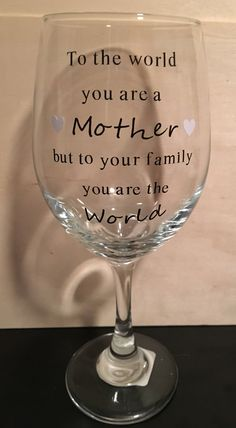 Mother's Day Wine Glass by CreationsByRider on Etsy Cricut Stencils, Wine Glass Crafts, Cut Image, Glitter Cups, Personalized Cups, Painted Wine Glasses, Grandparent Gifts, Mothers Day Crafts, Gift Sets