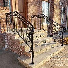 Exterior Railings – Dufferin Iron & Railings Wrought Iron Porch Railings, Exterior Stair Railing, Outdoor Stair Railing, Stair Railing Design, Wrought Iron Decor, Balcony Railing, Front Porch Railings, Front Porches, Brick Steps