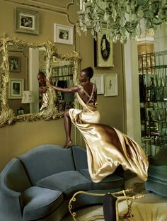 """Golden Years - """"It didn't ring true,"""" Lupita says of being discouraged to act in Kenya because of her skin tone. In Elsa's apartment in the Schiaparelli couture house, Lupita wears a Schiaparelli Haute Couture velvet dress."""
