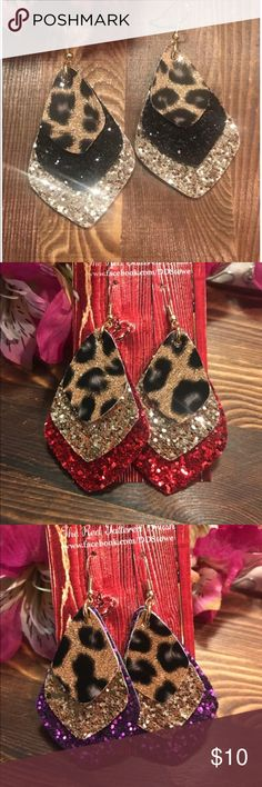 Faux Leather Earrings Custom Glitter Leopard Sport Fun custom made with your choice of colors!  Great for sports with your Favorite Team's color!  Check out my Facebook page: The Red Tattered Brush handmade Jewelry Earrings