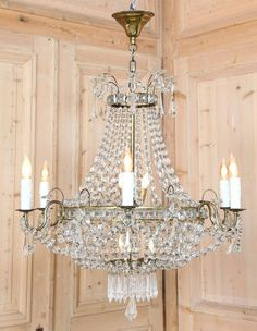 Vintage Sack of Pearls Chandelier.  Perfect for adding a little dazzle to your decor, the sack of pearls chandelier combines a pleasing shape with hundreds of faceted crystals to play on the light and create a superlative ambiance. Circa early 1900s.