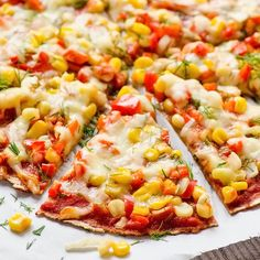 Ezekiel Tortilla Pizza with Corn, Peppers and Garlic Sauce
