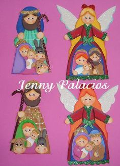 Pesebres tomados de la web :: RT Decoraciones y algo más... Christmas Nativity, Christmas Art, Xmas, Christmas Ornaments, Angel Crafts, Wooden Ornaments, Holy Night, Diy And Crafts, Holiday Decor