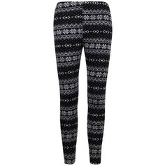 ililily Nordic Snowflakes Fair Isle Thick Warm Fleece Lined Winter... ($21) ❤ liked on Polyvore featuring pants, leggings, thick leggings, fleece lined trousers, nordic snowflake leggings, black pants and snowflake leggings