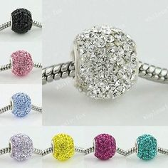 SWAROVSKI CRYSTAL STERLING SILVER EUROPEAN CHARM BEAD FIT CHARM BRACELETS [LIGHT YELLOW,1PC,(APPROX)10X14MM]